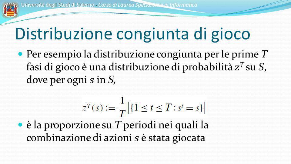Distribuzione congiunta di gioco Per esempio la distribuzione congiunta per le prime T fasi di gioco è una distribuzione di probabilità z T su S, dove