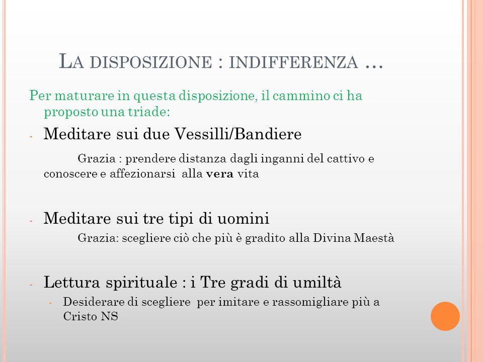 L A DISPOSIZIONE : INDIFFERENZA … Per maturare in questa disposizione, il cammino ci ha proposto una triade: - Meditare sui due Vessilli/Bandiere Graz