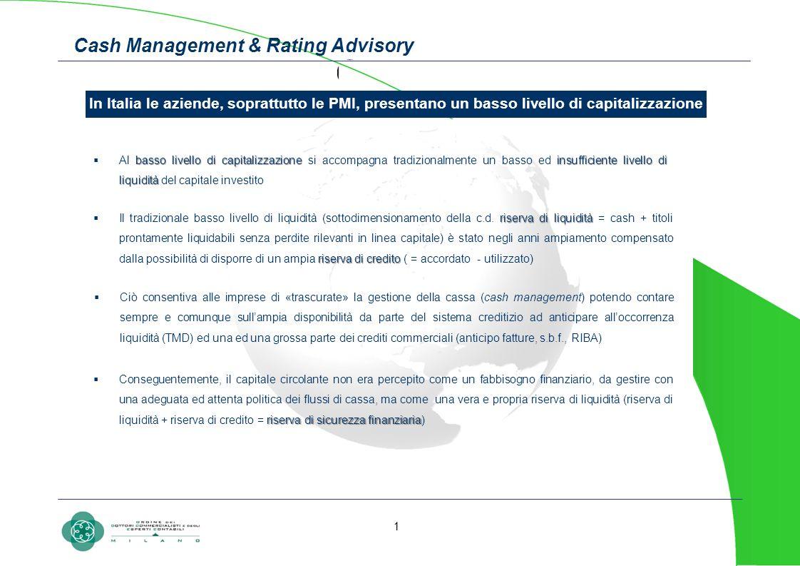 Cash Management & Rating Advisory In Italia le aziende, soprattutto le PMI, presentano un basso livello di capitalizzazione basso livello di capitaliz