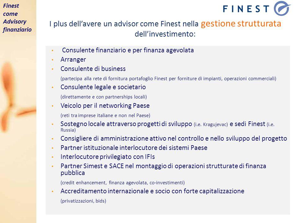 I plus dellavere un advisor come Finest nella gestione strutturata dellinvestimento: Consulente finanziario e per finanza agevolata Arranger Consulent