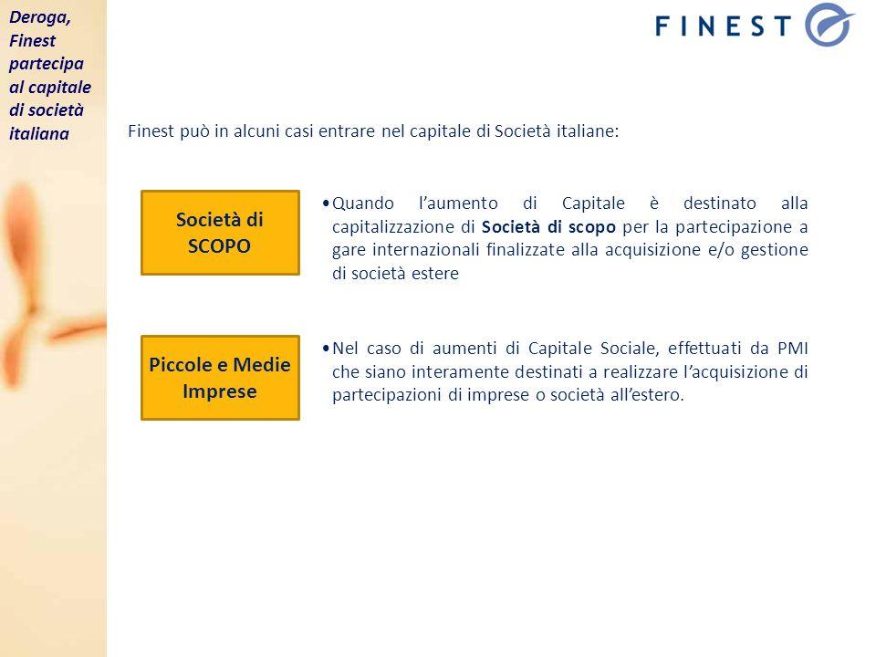 Società di SCOPO Piccole e Medie Imprese Finest può in alcuni casi entrare nel capitale di Società italiane: Quando laumento di Capitale è destinato a