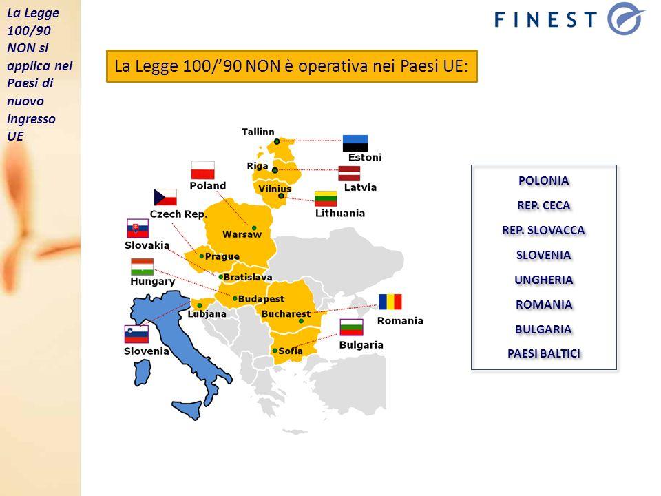 La Legge 100/90 NON è operativa nei Paesi UE: POLONIA REP. CECA REP. SLOVACCA SLOVENIA UNGHERIA ROMANIA BULGARIA PAESI BALTICI POLONIA REP. CECA REP.