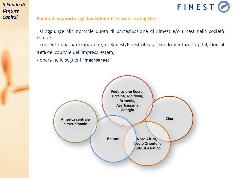 Fondo di supporto agli investimenti in aree strategiche: - si aggiunge alla normale quota di partecipazione di Simest e/o Finest nella società estera; - consente una partecipazione, di Simest/Finest oltre al Fondo Venture Capital, fino al 49% del capitale dellimpresa estera; - opera nelle seguenti macroaree: Il Fondo di Venture Capital