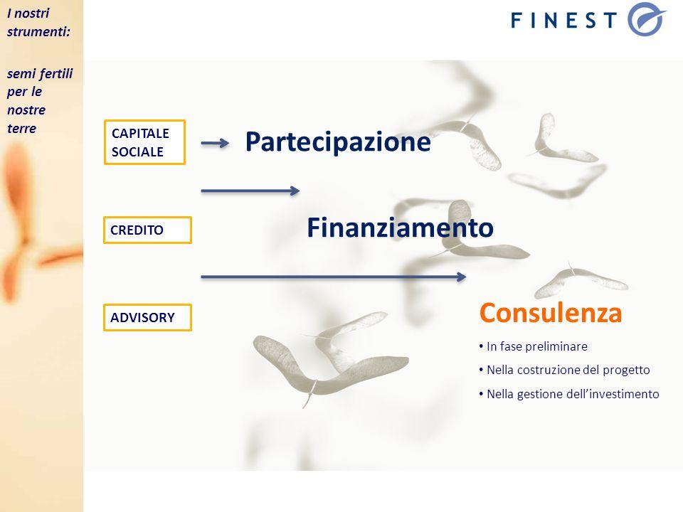 CREDITO CAPITALE SOCIALE Finanziamento Partecipazione Consulenza In fase preliminare Nella costruzione del progetto Nella gestione dellinvestimento AD