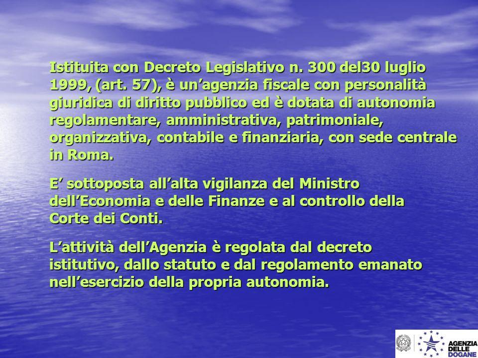 Istituita con Decreto Legislativo n. 300 del30 luglio 1999, (art. 57), è unagenzia fiscale con personalità giuridica di diritto pubblico ed è dotata d