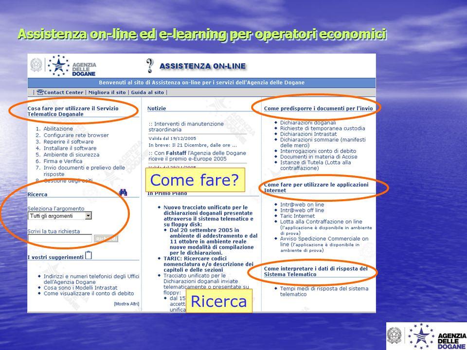 Assistenza on-line ed e-learning per operatori economici Come fare? Ricerca