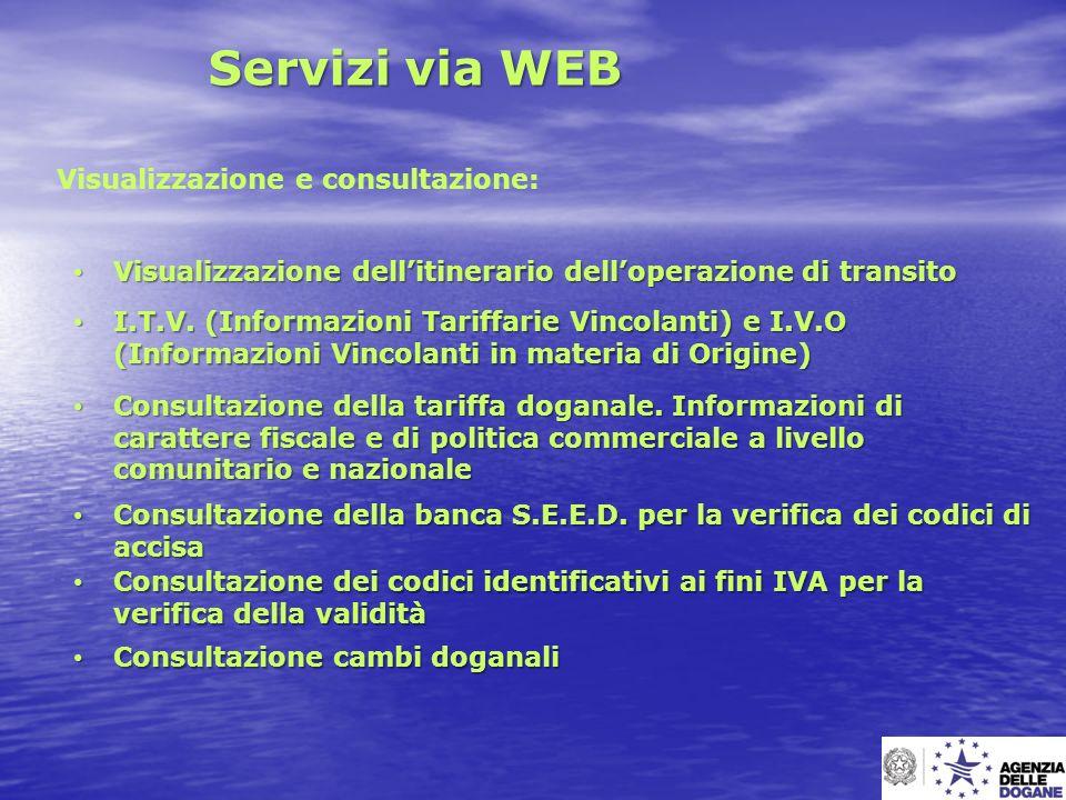 Servizi via WEB Visualizzazione e consultazione: Visualizzazione dellitinerario delloperazione di transito Visualizzazione dellitinerario delloperazio