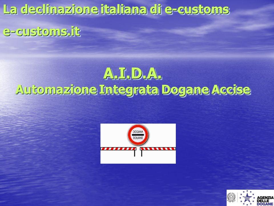 A.I.D.A. Automazione Integrata Dogane Accise La declinazione italiana di e-customs e-customs.it e-customs.it