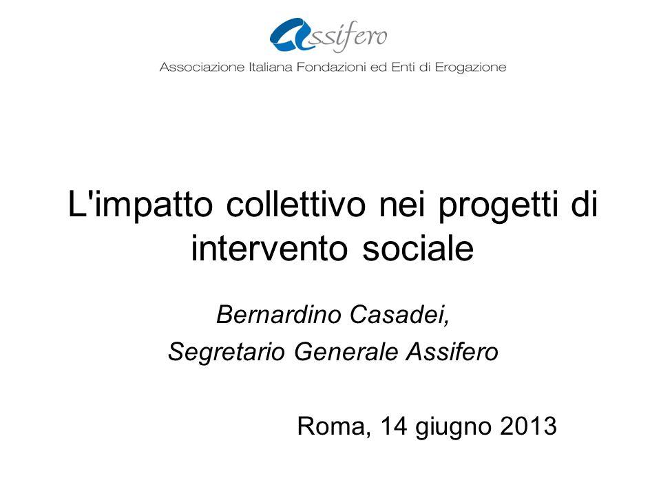 L impatto collettivo nei progetti di intervento sociale Bernardino Casadei, Segretario Generale Assifero Roma, 14 giugno 2013