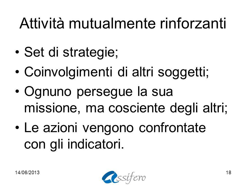 Attività mutualmente rinforzanti Set di strategie; Coinvolgimenti di altri soggetti; Ognuno persegue la sua missione, ma cosciente degli altri; Le azioni vengono confrontate con gli indicatori.