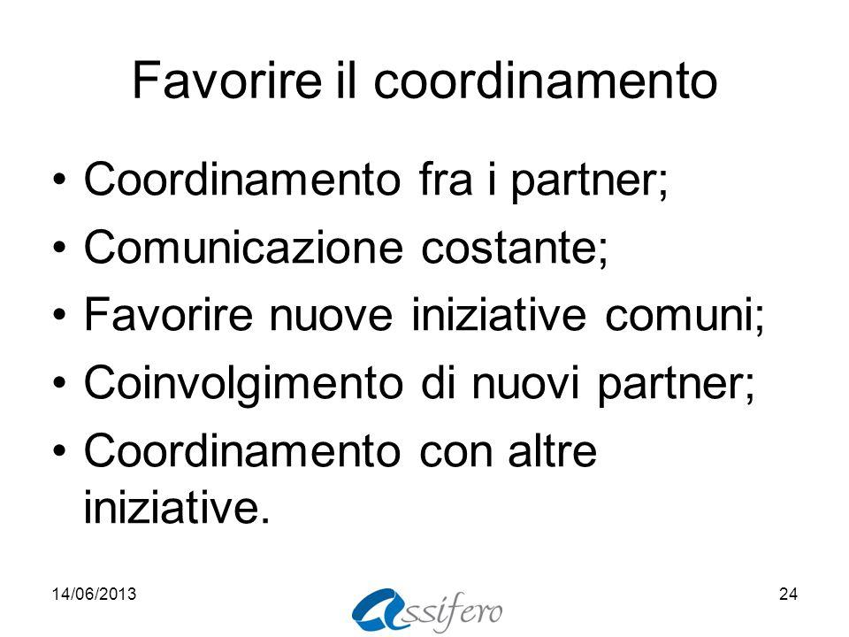 Favorire il coordinamento Coordinamento fra i partner; Comunicazione costante; Favorire nuove iniziative comuni; Coinvolgimento di nuovi partner; Coordinamento con altre iniziative.