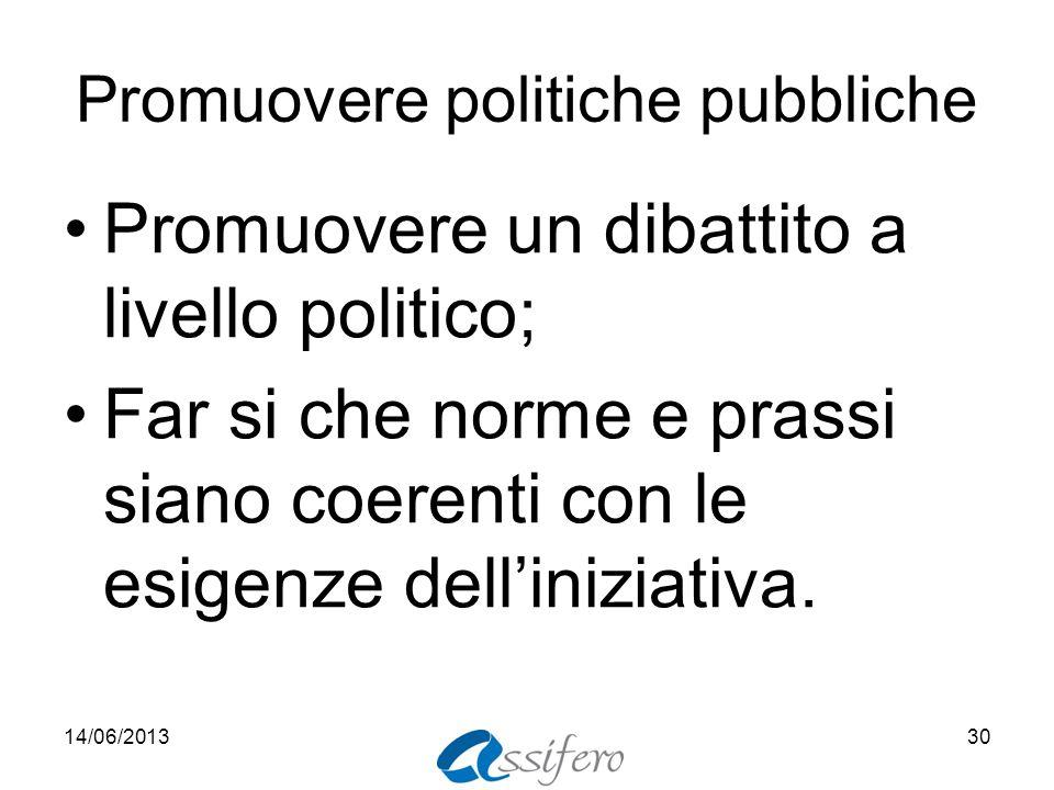 Promuovere politiche pubbliche Promuovere un dibattito a livello politico; Far si che norme e prassi siano coerenti con le esigenze delliniziativa. 14