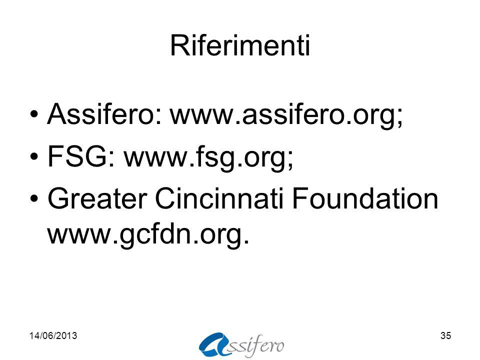 Riferimenti Assifero: www.assifero.org; FSG: www.fsg.org; Greater Cincinnati Foundation www.gcfdn.org. 14/06/201335