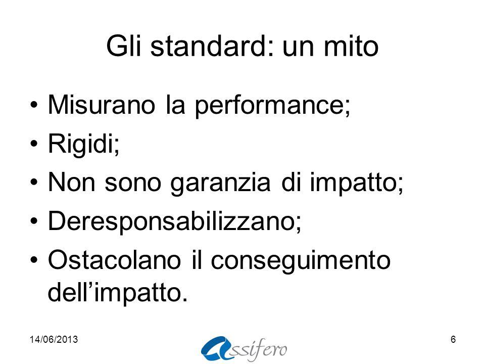 Gli standard: un mito Misurano la performance; Rigidi; Non sono garanzia di impatto; Deresponsabilizzano; Ostacolano il conseguimento dellimpatto. 14/