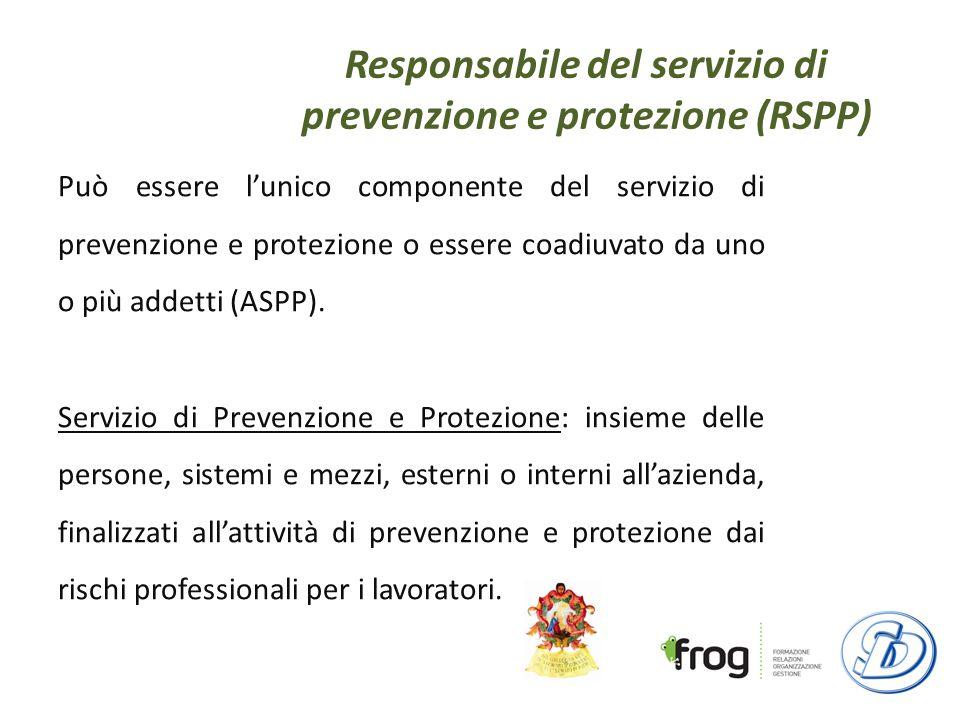 Responsabile del servizio di prevenzione e protezione (RSPP) Può essere lunico componente del servizio di prevenzione e protezione o essere coadiuvato da uno o più addetti (ASPP).