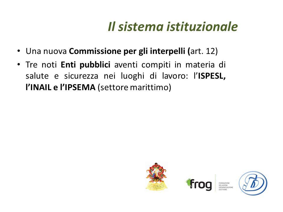 Il sistema istituzionale Una nuova Commissione per gli interpelli (art.