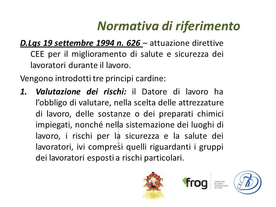 Normativa di riferimento D.Lgs 19 settembre 1994 n.