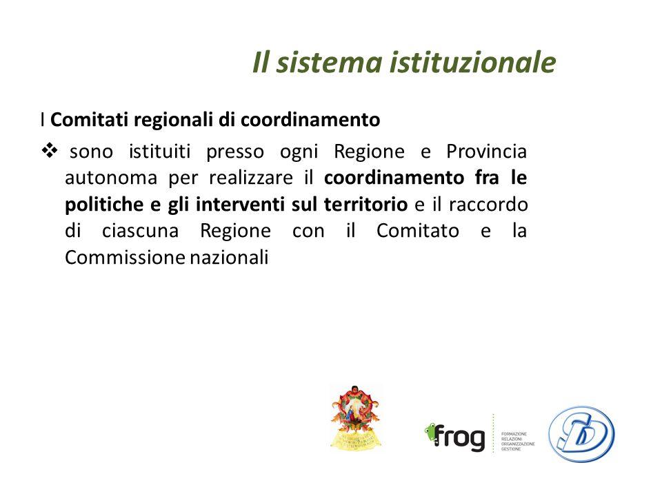 Il sistema istituzionale I Comitati regionali di coordinamento sono istituiti presso ogni Regione e Provincia autonoma per realizzare il coordinamento fra le politiche e gli interventi sul territorio e il raccordo di ciascuna Regione con il Comitato e la Commissione nazionali