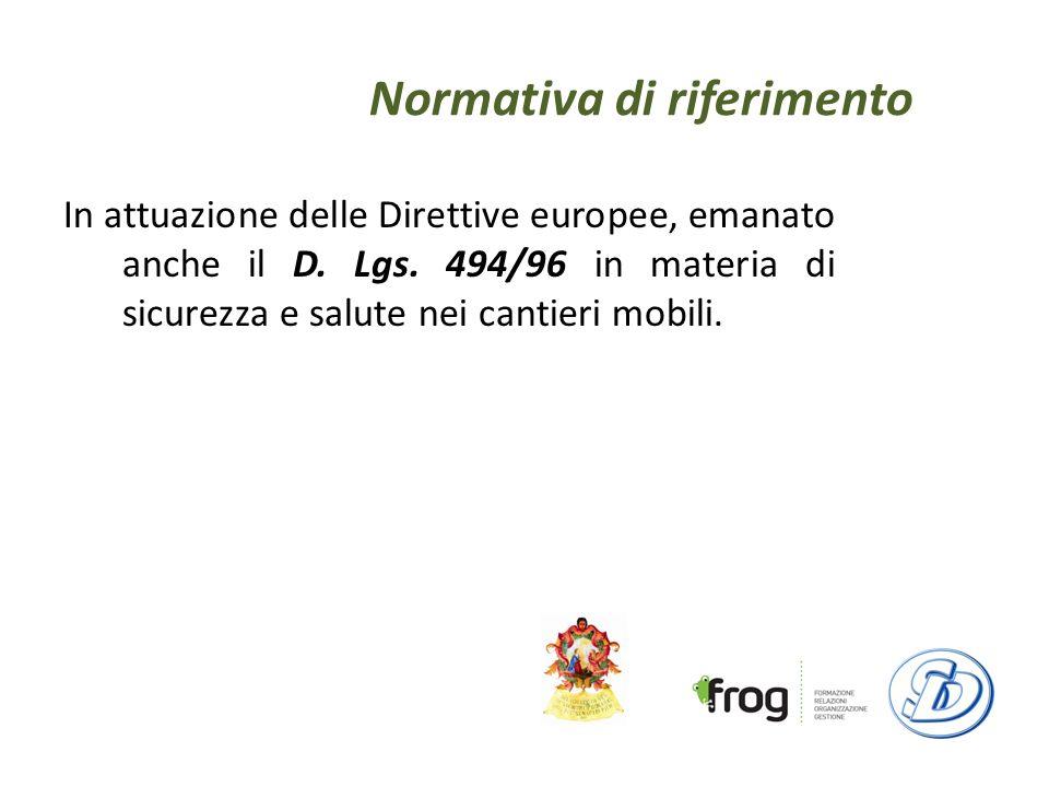 Normativa di riferimento In attuazione delle Direttive europee, emanato anche il D.