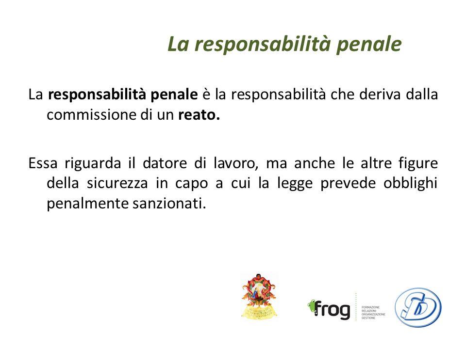 La responsabilità penale La responsabilità penale è la responsabilità che deriva dalla commissione di un reato.