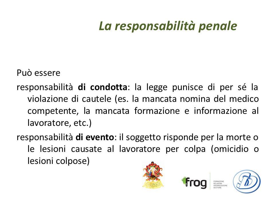 La responsabilità penale Può essere responsabilità di condotta: la legge punisce di per sé la violazione di cautele (es.