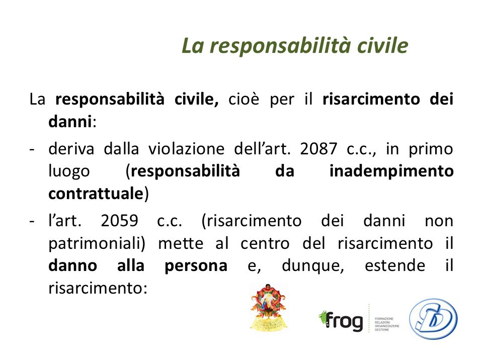 La responsabilità civile La responsabilità civile, cioè per il risarcimento dei danni: -deriva dalla violazione dellart.