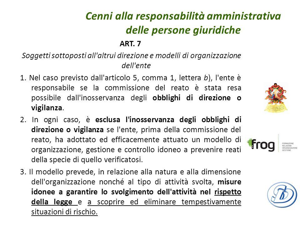 Cenni alla responsabilità amministrativa delle persone giuridiche ART.