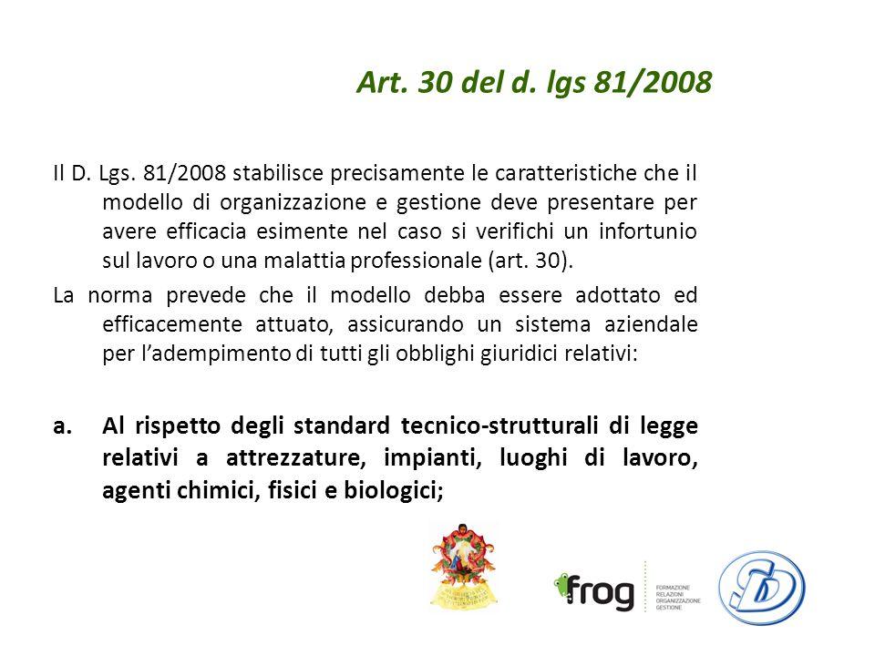 Art.30 del d. lgs 81/2008 Il D. Lgs.