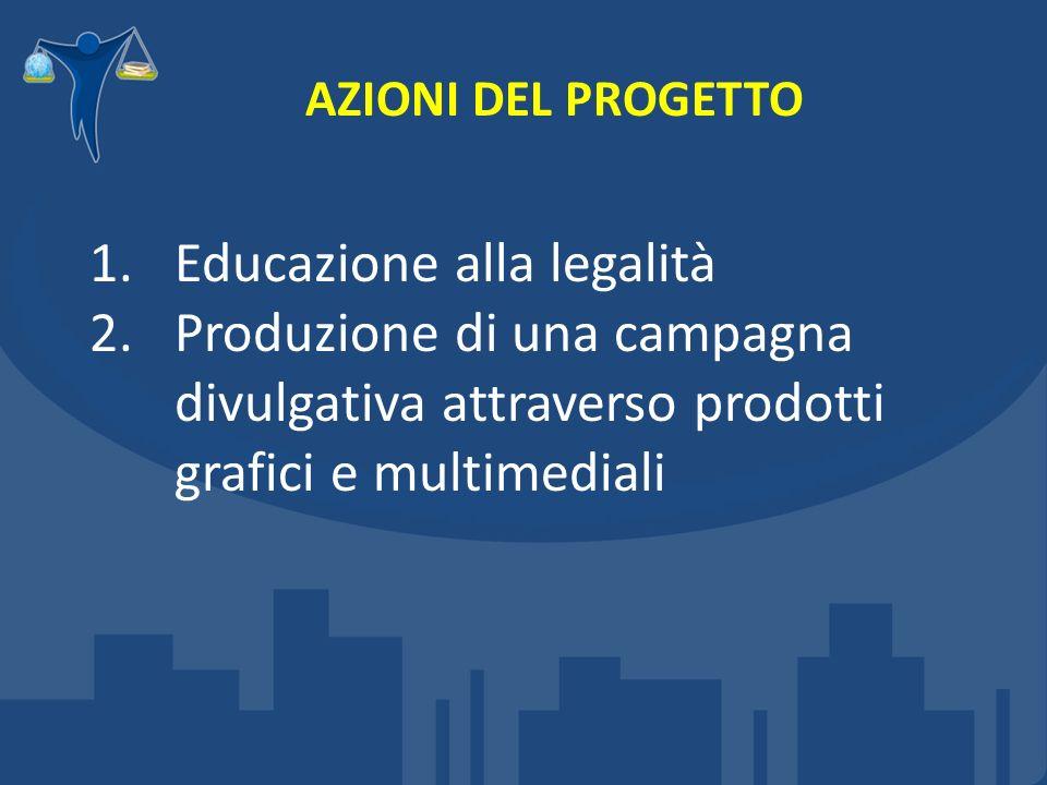 AZIONI DEL PROGETTO 1.Educazione alla legalità 2.Produzione di una campagna divulgativa attraverso prodotti grafici e multimediali