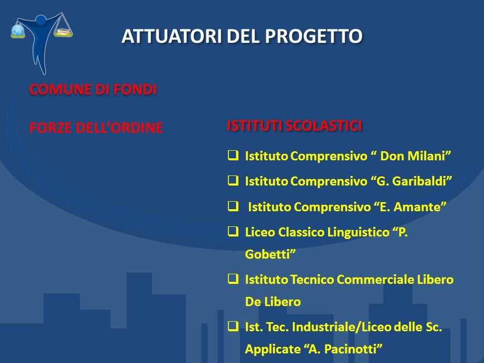ATTUATORI DEL PROGETTO COMUNE DI FONDI FORZE DELLORDINE ISTITUTI SCOLASTICI Istituto Comprensivo Don Milani Istituto Comprensivo G.