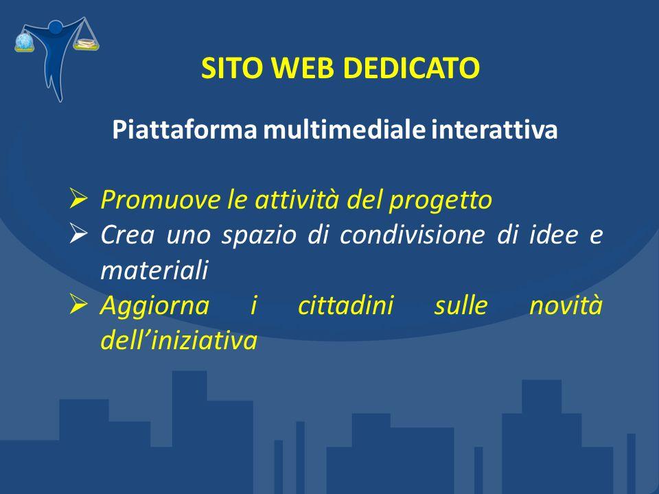 SITO WEB DEDICATO Piattaforma multimediale interattiva Promuove le attività del progetto Crea uno spazio di condivisione di idee e materiali Aggiorna i cittadini sulle novità delliniziativa
