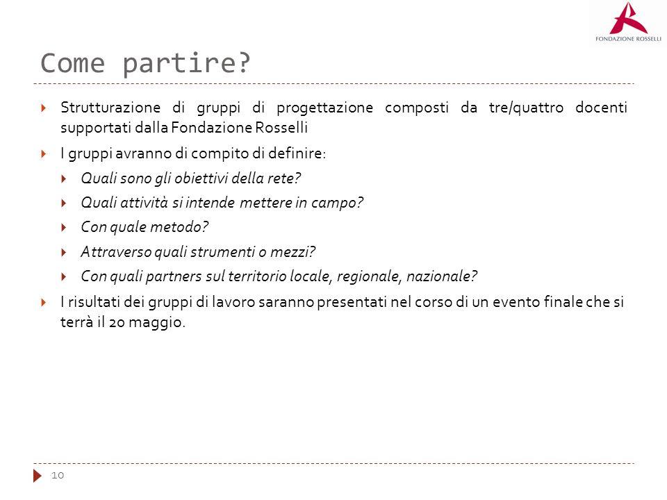 Come partire? 10 Strutturazione di gruppi di progettazione composti da tre/quattro docenti supportati dalla Fondazione Rosselli I gruppi avranno di co