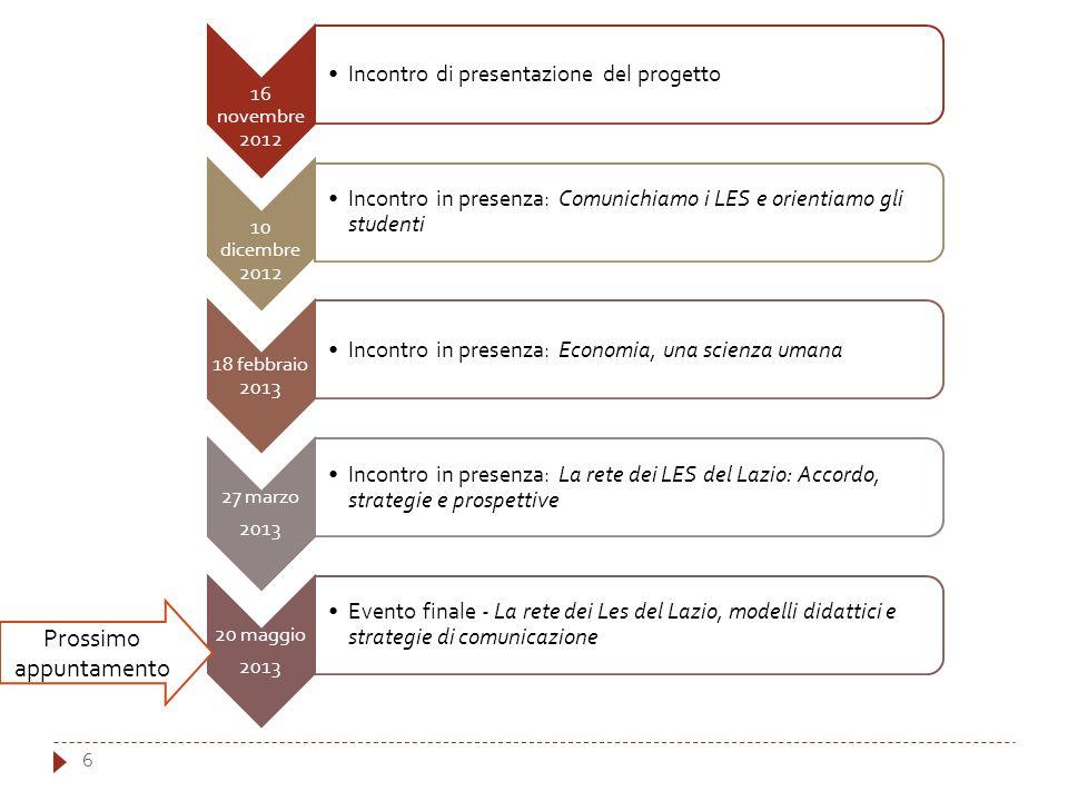 6 16 novembre 2012 Incontro di presentazione del progetto 10 dicembre 2012 Incontro in presenza: Comunichiamo i LES e orientiamo gli studenti 18 febbr