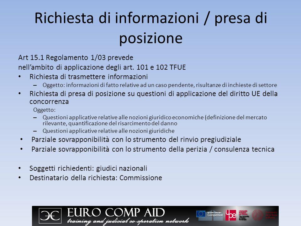 Richiesta di informazioni / presa di posizione Art 15.1 Regolamento 1/03 prevede nellambito di applicazione degli art.