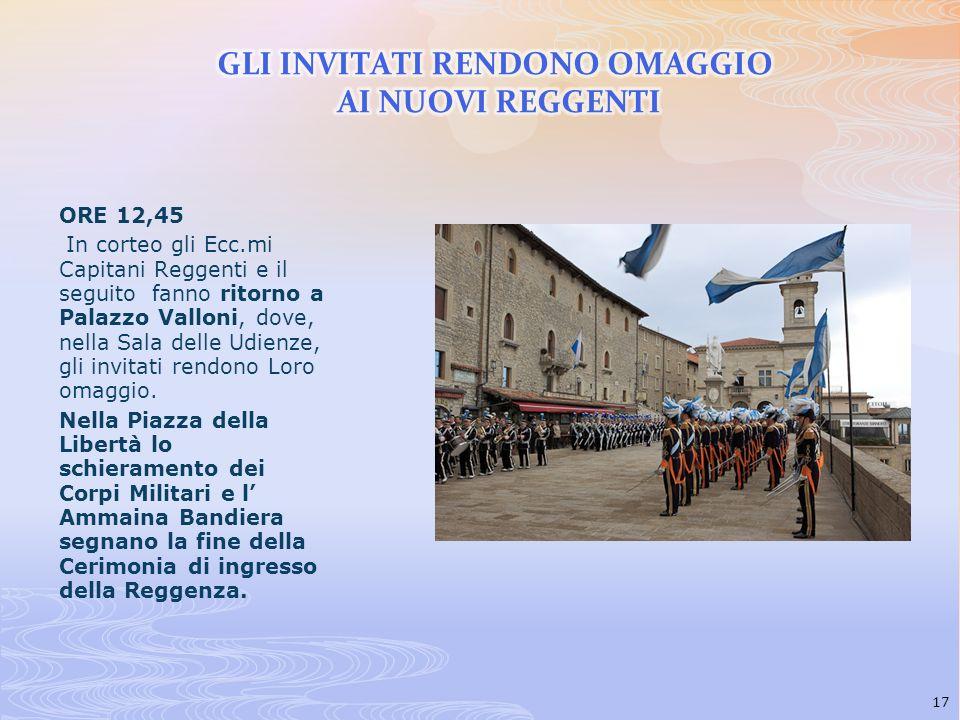 ORE 12,45 In corteo gli Ecc.mi Capitani Reggenti e il seguito fanno ritorno a Palazzo Valloni, dove, nella Sala delle Udienze, gli invitati rendono Lo