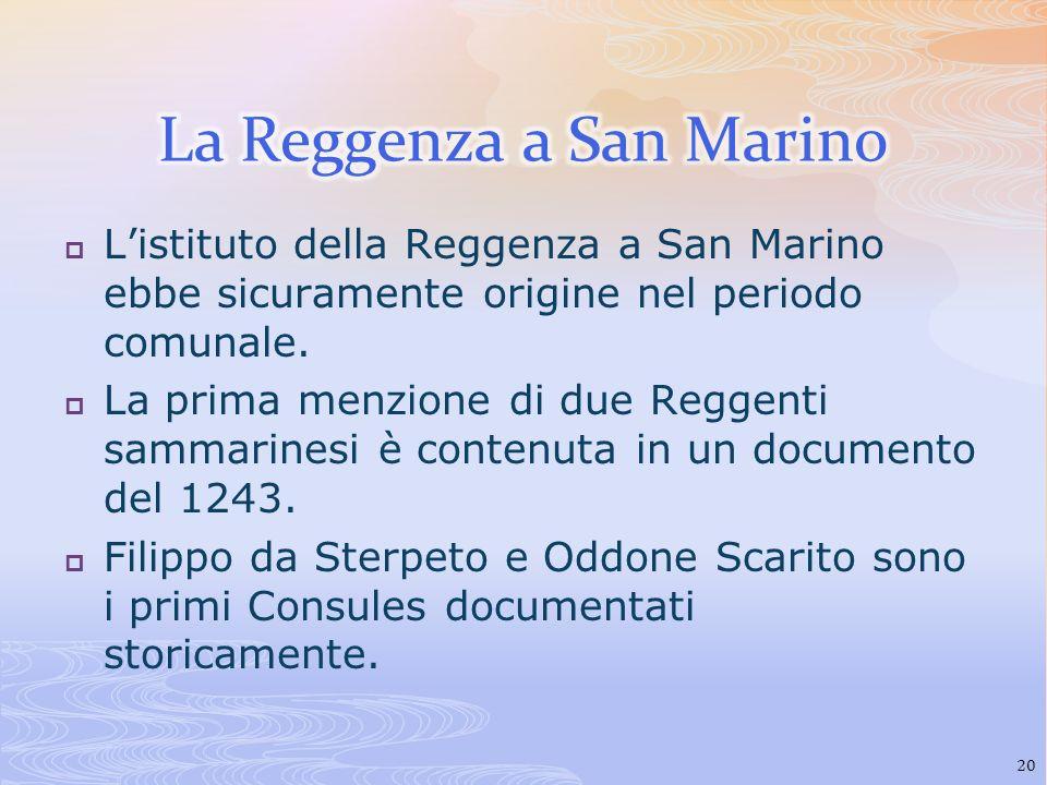 Listituto della Reggenza a San Marino ebbe sicuramente origine nel periodo comunale. La prima menzione di due Reggenti sammarinesi è contenuta in un d
