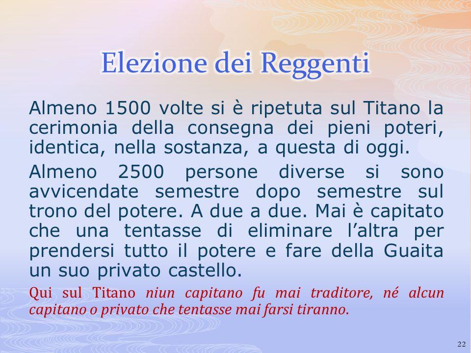 Almeno 1500 volte si è ripetuta sul Titano la cerimonia della consegna dei pieni poteri, identica, nella sostanza, a questa di oggi. Almeno 2500 perso