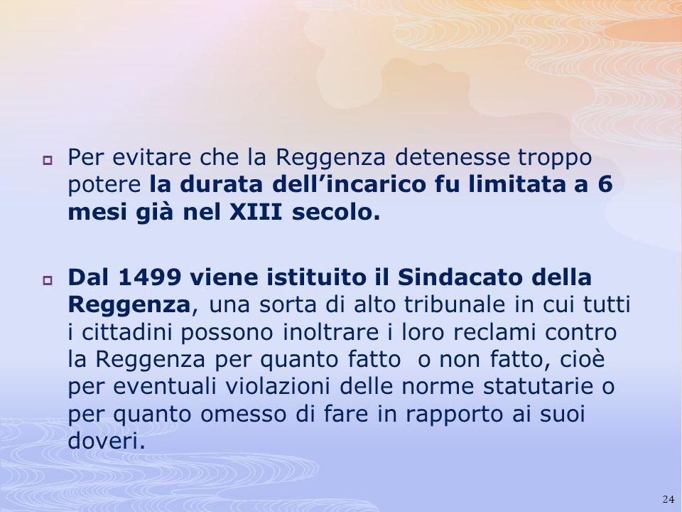 Per evitare che la Reggenza detenesse troppo potere la durata dellincarico fu limitata a 6 mesi già nel XIII secolo. Dal 1499 viene istituito il Sinda