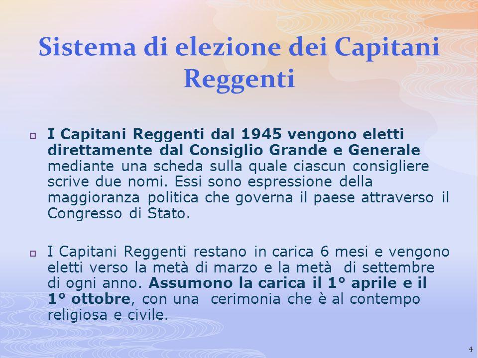 Sistema di elezione dei Capitani Reggenti I Capitani Reggenti dal 1945 vengono eletti direttamente dal Consiglio Grande e Generale mediante una scheda