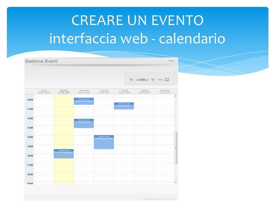 CREARE UN EVENTO interfaccia web - calendario