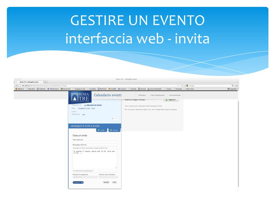 GESTIRE UN EVENTO interfaccia web - invita