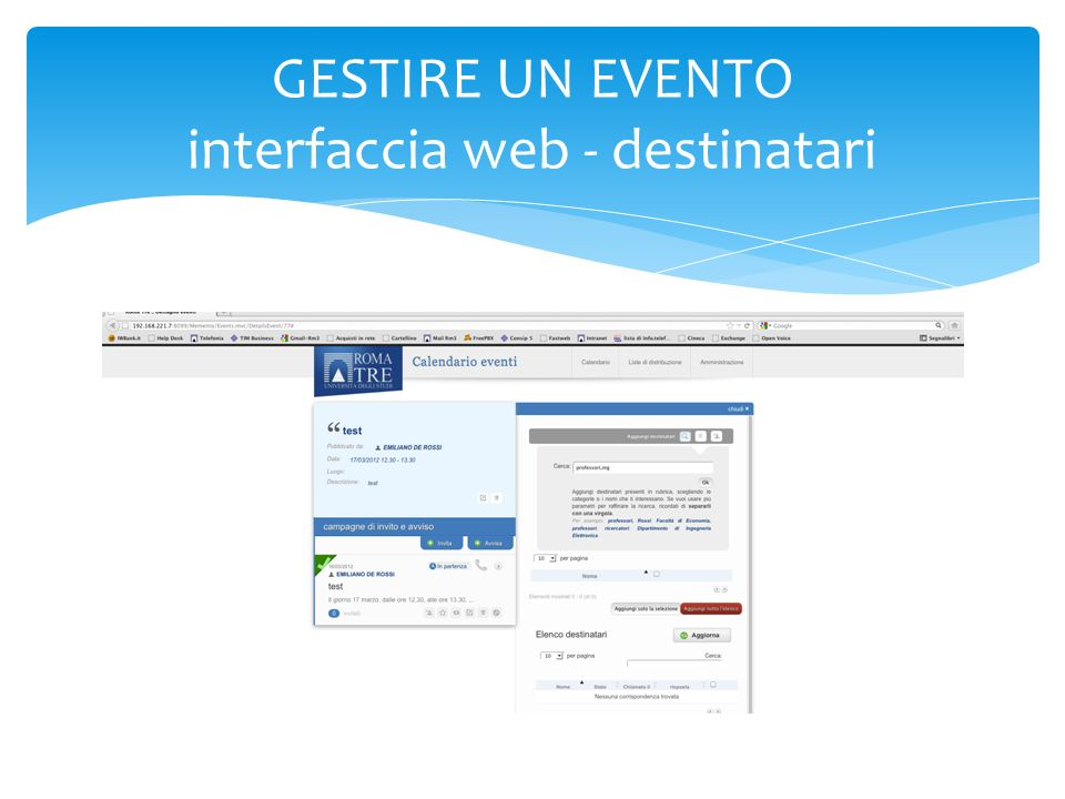 GESTIRE UN EVENTO interfaccia web - destinatari