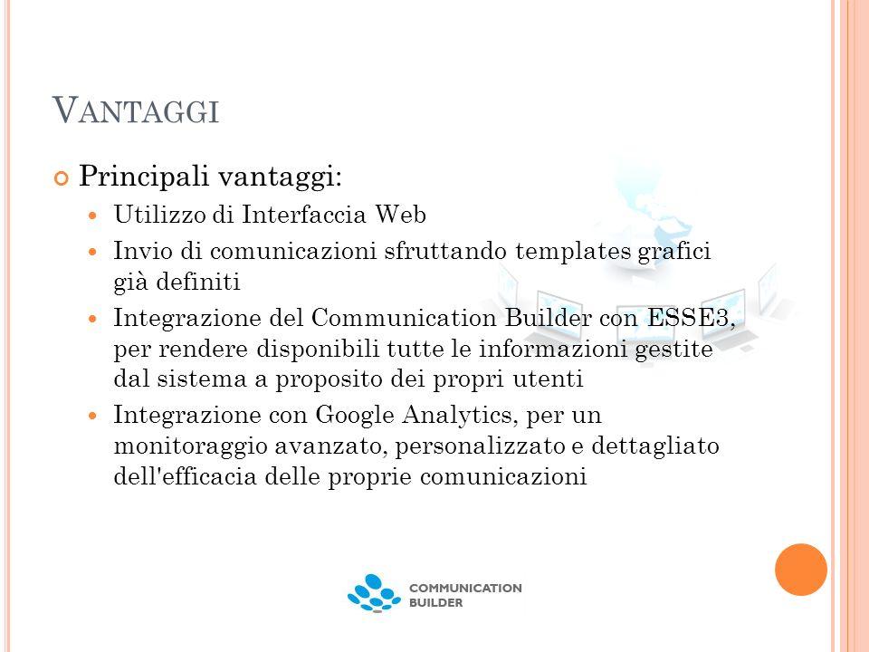 V ANTAGGI Principali vantaggi: Utilizzo di Interfaccia Web Invio di comunicazioni sfruttando templates grafici già definiti Integrazione del Communica