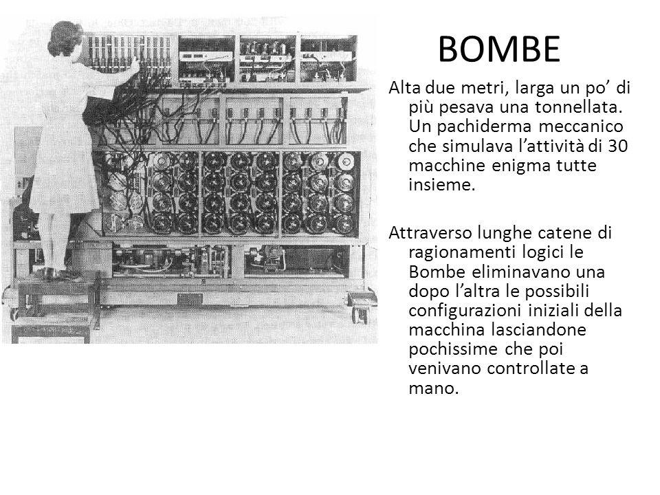BOMBE Alta due metri, larga un po di più pesava una tonnellata. Un pachiderma meccanico che simulava lattività di 30 macchine enigma tutte insieme. At