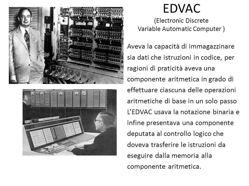 EDVAC (Electronic Discrete Variable Automatic Computer ) Aveva la capacità di immagazzinare sia dati che istruzioni in codice, per ragioni di praticit