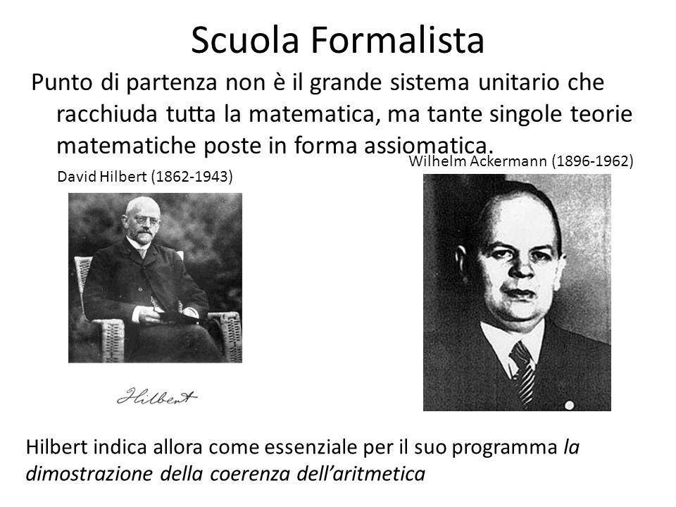 Scuola Formalista Punto di partenza non è il grande sistema unitario che racchiuda tutta la matematica, ma tante singole teorie matematiche poste in f