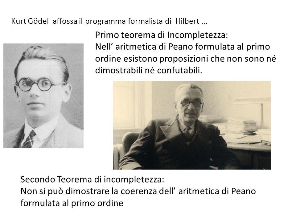 Kurt Gödel affossa il programma formalista di Hilbert … Primo teorema di Incompletezza: Nell aritmetica di Peano formulata al primo ordine esistono pr