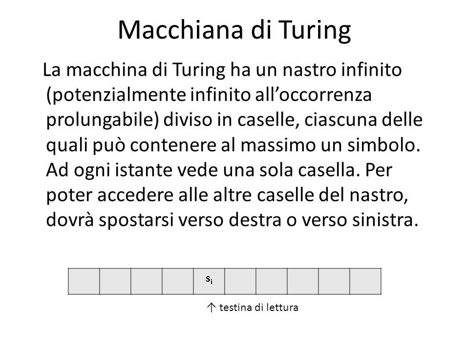 Macchiana di Turing La macchina di Turing ha un nastro infinito (potenzialmente infinito alloccorrenza prolungabile) diviso in caselle, ciascuna delle