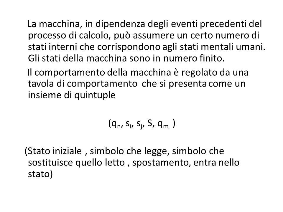 La macchina, in dipendenza degli eventi precedenti del processo di calcolo, può assumere un certo numero di stati interni che corrispondono agli stati