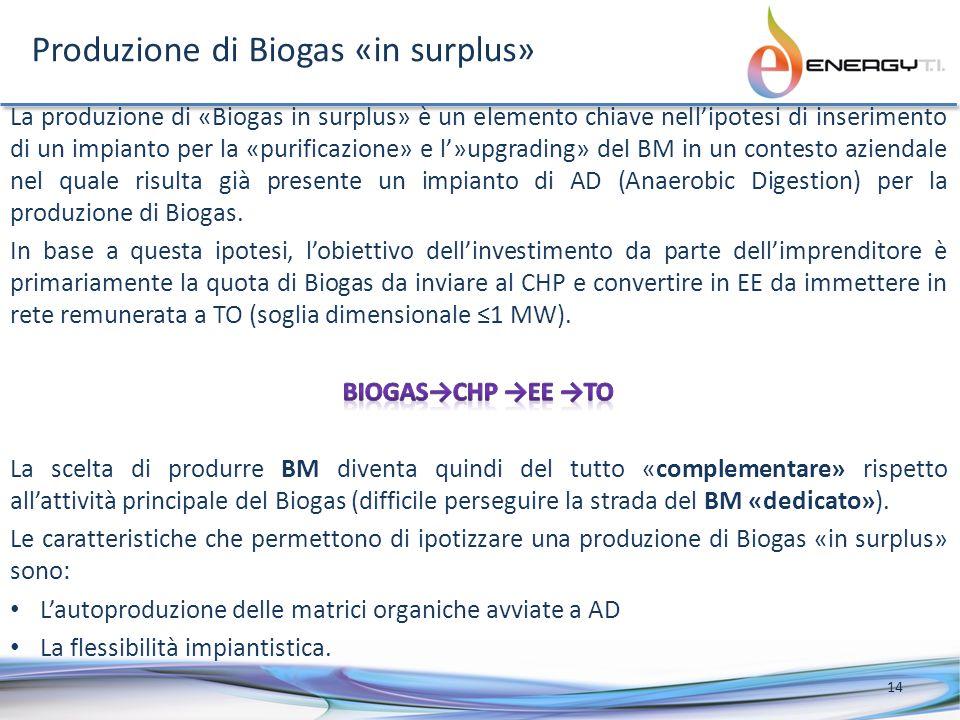 Produzione di Biogas «in surplus» 14